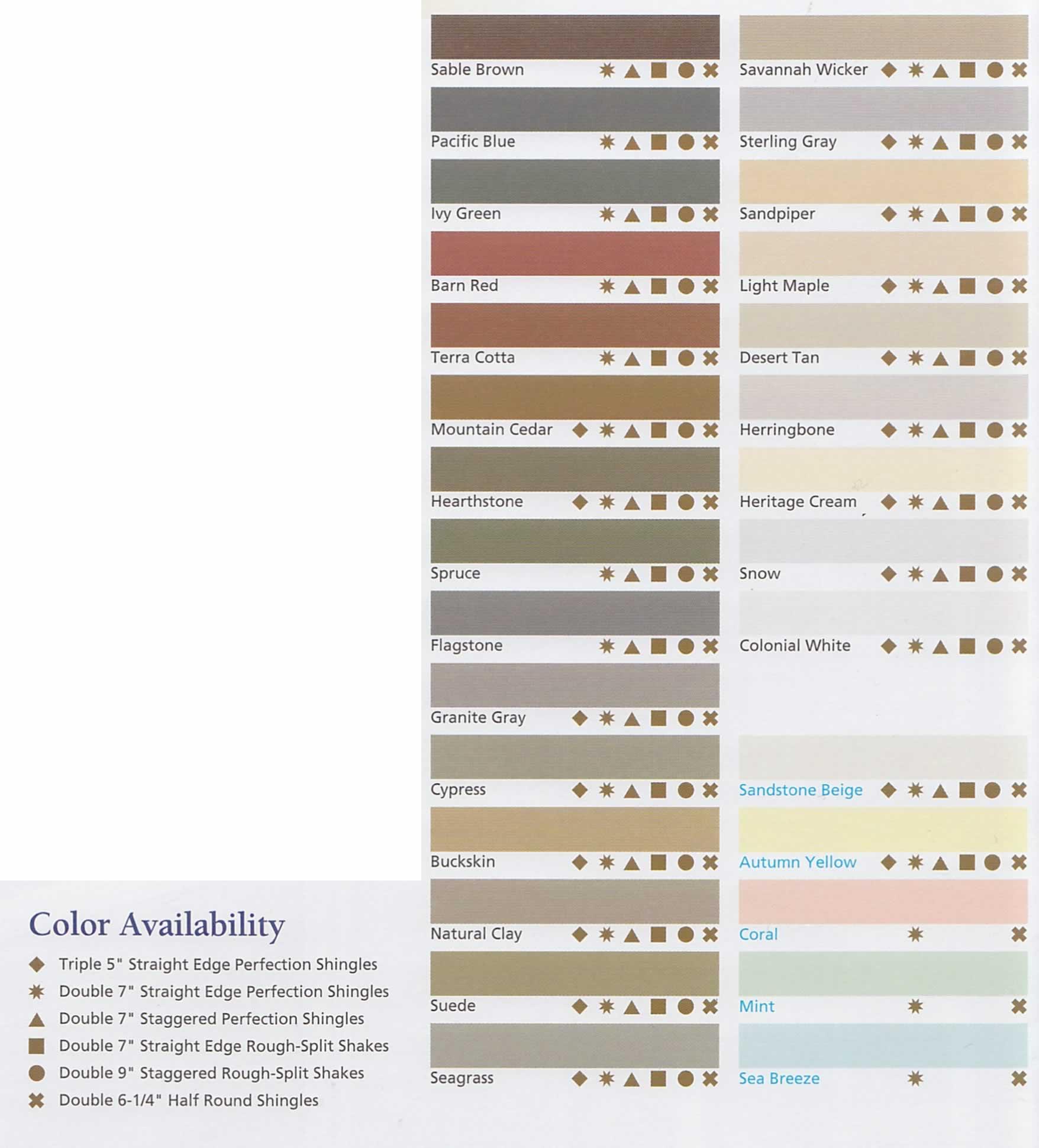 cedar impressions colors